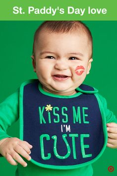 """Irish or not, wearing green is a necessity on St. Patrick's Day—for everyone—including your baby. Perfect for hanging out at home or enjoying daycare festivities, the Just One You made by Carter's St. Paddy's Day clothing is comfy, cozy and green! The long-sleeved """"A Wee Bit Irish"""" bodysuit is perfect layered with soft pants. And protect their clothes while celebrating in extra-cute style with the """"Kiss Me I'm Cute"""" bib. St. Patrick's Day has never been sweeter than with your baby in the…"""
