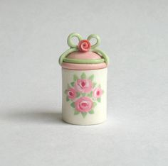 Miniature Hand Painted Shabby Roses and Ribbon Container OOAK by C. Rohal. $24.50, via Etsy.