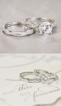 twist vintage wedding rings set / http://www.deerpearlflowers.com/twisted-engagement-rings-wedding-rings/