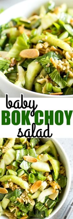 This Baby Bok Choy Salad is full of crunchy almonds, ramen noodles, and a sweet Sesame Dressing. It's like Chinese takeout in salad form! via @culinaryhill