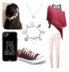 """""""Casual Red"""" by starlight-fairy ❤ liked on Polyvore featuring Balmain, Converse, ChloBo and Casetify"""