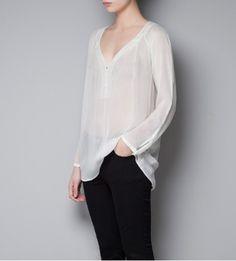 Blusa de seda manga longa Zara inspired — Roupas Femininas Online:Camisas,Blusas,Vestidos,Calças,Marcas de luxo