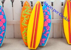 Decorated-Surfboard-Sugar-Cookies-in-Yellow-Orange-Blue-Red-Pink-Green-for-Sale-Flower-and-Flour.jpg 504×360 pixels