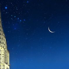 Blue Gold  Chrysler Building Print, Triangle, NYC Photography, moon, stars, Art Deco, wall decor on Etsy, $30.00