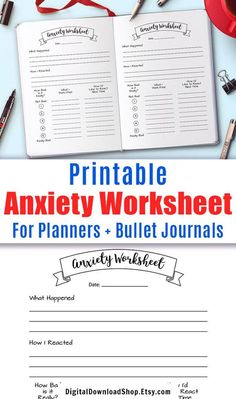 Bullet journal anxiety worksheet printable. Use this bujo printable insert to help you work through feelings of anxiety. Record what happened, how you responded, and try to work out a more appropriate response for the next time. | #anxiety #mentalHealth #planner #Etsy #DigitalDownloadShop