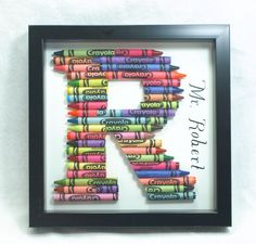 Crayon Letter Shadow Box Frame by TenleeDesigns on Etsy--love it!