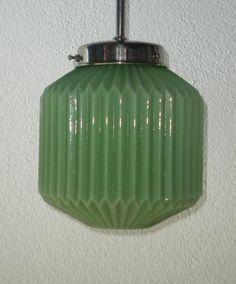 candeeiro vidro opalino verde IV