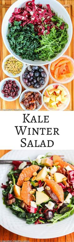 This Winter Kale Arugula Radicchio Orange Salad will brighten up your menu during the cold months of winter ~ http://jeanetteshealthyliving.com
