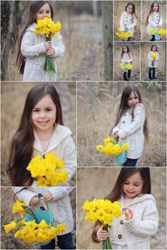 spring outdoor photo session flowers yellow kids