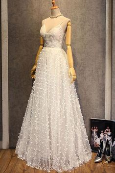 Pretty white 3D lace sweetheart long spaghetti straps evening dress 3bf27cc4d18f