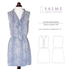 Purchase Salme Sewing Patterns 134 Pussy Bow Dress Downloadable Pattern and read its pattern reviews. Find other Dresses sewing patterns.