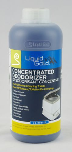 Liquid Gold Porta Potty Deodorizer 32 fl oz. Liquid Gold Concentrated Deodorizer now comes in a thicker formula  It is nontoxic nonstaining and economic and comes in an easytopour bottle  For effective ordor control of recirculatingchemical tanks and waste holding tanks use 8oz of Liquid Gold  For Portable Toilets place 4oz of Liquid Gold in the holding tank and add 1qt of water  Liquid Gold contains Alkyl Dimetheyl Benzyl Ammonium Chloride  Keep out of reach of children 338 fl oz