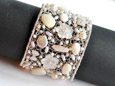 Bridal cuff bracelet, statement cuff bracelet, pearl bridal bracelet,  wedding jewelry