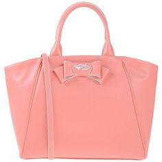 Tua By Braccialini Handbag ($100) ❤ liked on Polyvore featuring bags, handbags, salmon pink, purse bag, zipper handbag, red hand bags, zipper purse and pink purse