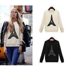 Fashion Women Sweatshirt Pylon Decoration Pullover Long Sleeve Casual Tops Blouse