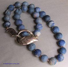 Dumortierite Necklace   Matte Denim Blue  by ArtsEtBijoux on Etsy,