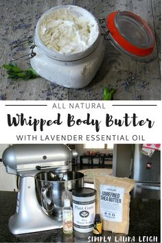 Learn how to make this easy DIY whipped body butter with lavender essential oil. All natural with no harsh chemicals. The perfect handmade gift. #essentialoils #DIY #allnatural #lotion #howto