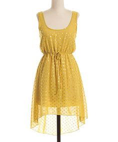 Love this Yellow & Gold Polka Dot Hi-Low Dress by Coveted Clothing on #zulily! #zulilyfinds