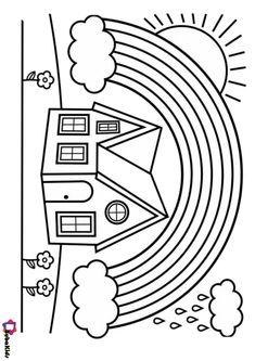 House and rainbow coloring pages | BubaKids.com Easy Coloring Pages, Cartoon Coloring Pages, Rainbow Colors, Symbols, Letters, House, Colouring Pages For Kids, Rainbow Colours, Icons