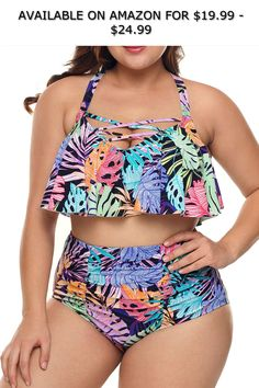 UNBRUVO High Waisted Bikini T Shirt Dresses 2019 Womens Tankini Swimsuits