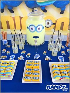 Drink station at a Minion birthday party! See more party ideas at CatchMyParty.com!