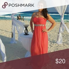Coral long bridesmaid dress Size 11. I only wore it once for the wedding. Dresses Prom