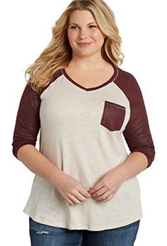 98778896395 Maurices Women s Plus Size Baseball Tee With Chest Pocket And Shimmer Sleeves  maurices
