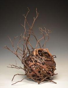 Matt Tommey, Artist, Sculptural Piece - Basket nested in laurel branches. Deco Floral, Arte Floral, Willow Weaving, Basket Weaving, Contemporary Baskets, Twig Art, Making Baskets, Deco Nature, Stick Art