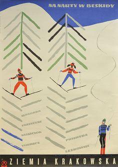 Beskidy, Poland ski #travel #poster by George Napieracz 1967