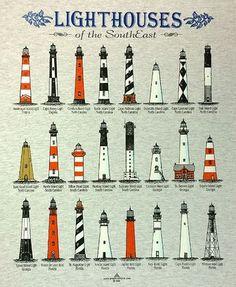 Lighthouses of the Southeast T-Shirt Lighthouse Drawing, Lighthouse Art, Cape Hatteras Lighthouse, Cape Florida Lighthouse, Lighthouse Pictures, Modelos 3d, Beacon Of Light, Beach Art, Coastal