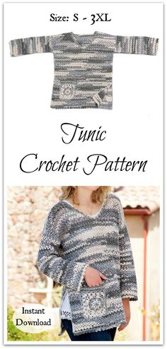 This casual, boho-style tunic, with charming granny pocket and shell edging, is worked alternately in fan and V-stitches for a light and soft crochet fabric.  #ad #affiliate #crochet #pattern #fashion