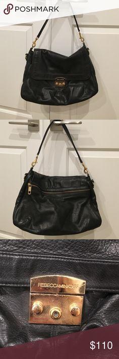 Rebecca Minkoff black leather handbag gold detail Rebecca Minkoff black leather handbag gold detail perfect for worn Rebecca Minkoff Bags Shoulder Bags