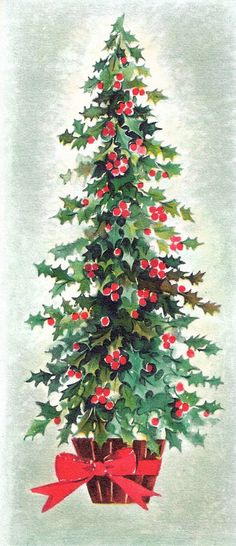 Christmas Tree with red bow #vintage #christmas #vintagechristmas