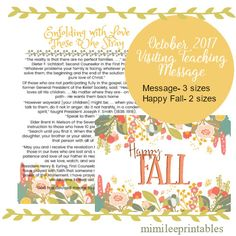 October 2017 Visiting Teaching Printable by Mimileeprintables on Etsy Relief Society Handouts, Visiting Teaching Gifts, Lds Conference, October, Printables, Messages, Savior, Charity, Sisters