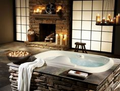 rustikale badezimmer holzdecke wanne spiegel idee | bad ideen, Hause ideen