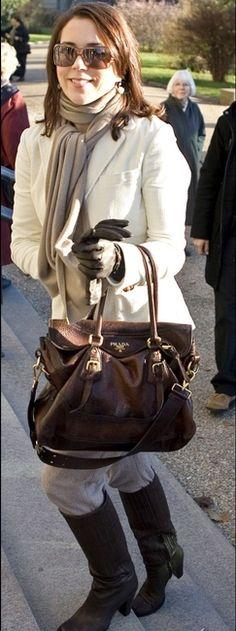 Crown Princess Mary of Denmark and Prada Antic Cervo Flap Tote
