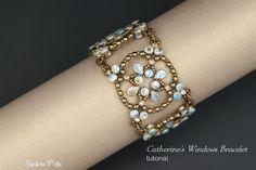Pellet and Pip Beads Bracelet Tutorial - Beading Pattern - Catherine's Windows Bracelet - PDF Pattern - Digital Download