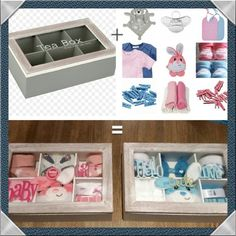 tea box (action) + baby things = voil … - Home Decor Ideas Cute Baby Shower Gifts, Baby Shower Gift Basket, Baby Hamper, Diy Baby Gifts, Baby Shower Parties, Idee Cadeau Baby Shower, Diy Baby Gym, Fiesta Baby Shower, Birth Gift