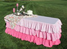 Ombre Ruffled Tablecloth-Pink Wedding Decor or for Breast Cancer awareness by MyHauteStuff