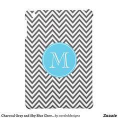 Charcoal Gray and Sky Blue Chevron Custom Monogram Case For The iPad Mini