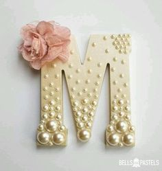 Decorative Wooden Letter for Baby Shower, Bridal Shower, or Nursery ~ 6 inch ~ Personalized with Assorted Pearls and Vintage Flower Detail - DIY Home Project Nursery Letters, Diy Letters, Letter A Crafts, Button Letters, Cardboard Letters, Hanging Letters On Wall, Decorative Letters For Wall, Wood Initials, Wedding Initials