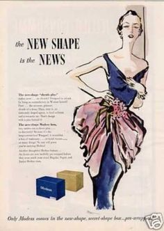 Modess Sanitary Napkins (1950) - the box's shape was disguised - in a plain brown wrapper so nobody knew what you were buying