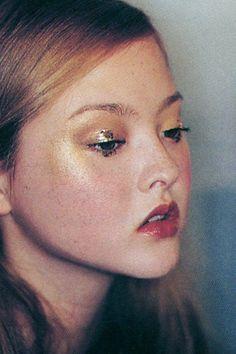 Gold leaf eye on Devon Aoki, which makeup artist Ellis Faas created for her first runway job, Karl Lagerfeld's Fendi show in Milan.