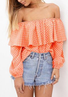 Orange Polka Dots Off-Shoulder Top