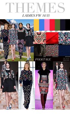 Jewel toned embellishments, tapestry on dark fabrics, high necklines, lapel collars, dark florals, embroidery, (Trend Council)