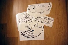 Fish misc line drawings