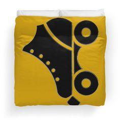 #cool #80s #rollerskate #skate #black #bold #fun #cool #hip #graphic #abstract #rollerderby #retro #vintage #60s #70s #rollerrink #skating #wheels #kids #kid #child #boy #girl #modern #sleek #original #unique #duvet #bedspread #bedroom #cool design for $120.34