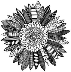 Black and White Abstract Flower Print 8 X 10 (No. 11/12) - Sunflower via Etsy