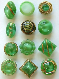 12 Small Vintage Green Moonglow Glass Buttons, Oval, Square, Tiger-Eye, Shaved …