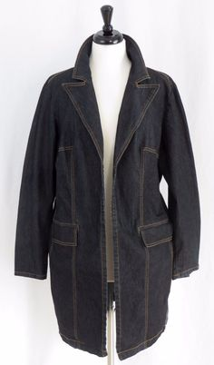 Bisou Bisou Long Blue Denim Jacket Blazer 1X #BISOUBISOU #JeanJacket #Casual